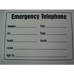 "10""x14"" EMERGENCY TELEPHONE ""NUMBERS"" SIGN"