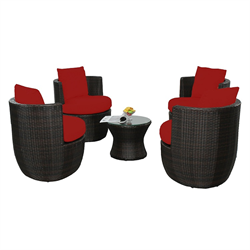COCO 5 PIECE STACKING CONVERSATION SET, RED CUSHION