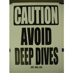 "18""x24"" 'CAUTION: AVOID DEEP DIVES' SIGN"