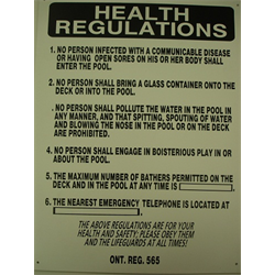 "18""x24"" 'HEALTH REGULATIONS' SIGN"